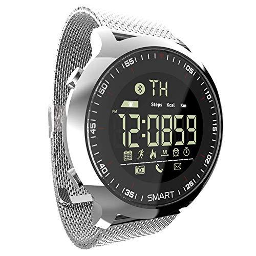 WRJY Reloj Deportivo Inteligente Reloj de Pulsera Digital Multifuncional para Exteriores 50M Cronómetro Impermeable Calorías Podómetro Rastreador de Actividad Bluetooth, Correa de Acero