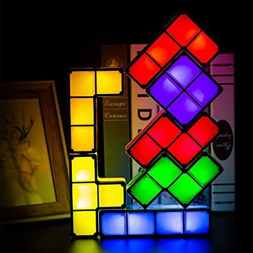 FENGLI Tetris stapelbare Nachtlampe, 7 Farben, Induktion, ineinandergreifende Schreibtischlampe, DIY Magic Blöcke, Puzzles Spielzeug für Kinderzimmer, Schlafzimmer, Heimdekoration