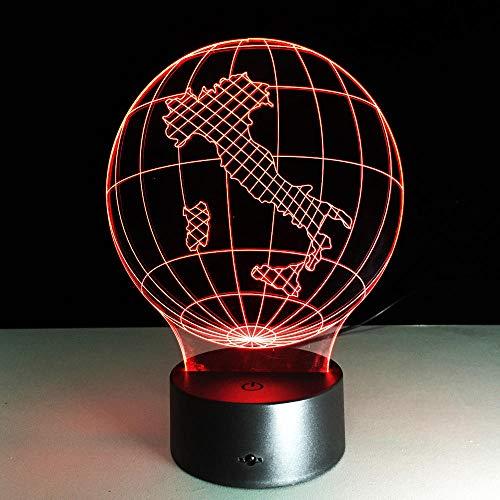 3D-lamp, optische illusie, led, nachtlampje, 7 kleuren, bedlampje, bedlampje, bedlampje, bedlampje, kinderkamer, kunst, decoratie, met USB-kabel, aarde Italië