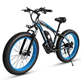 Electric Bikes for Adults Women Men, 4.0' * 26 Inch Fat Tire Electric Bike 48V /18AH 1000W Motor Snow Electric Bicycle with Shimano 21 Speed with IP54 Waterproof(Black)