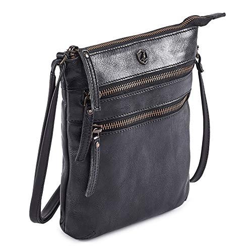 COCHOA Small Triple Zip Real Leather Women's Crossbody- Premium Vintage Crossover Shoulder Sling Bag