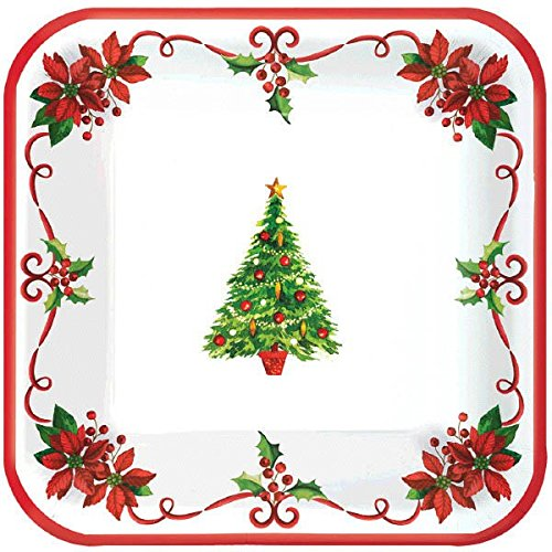 Christmas Tree Square Party Paper Plates