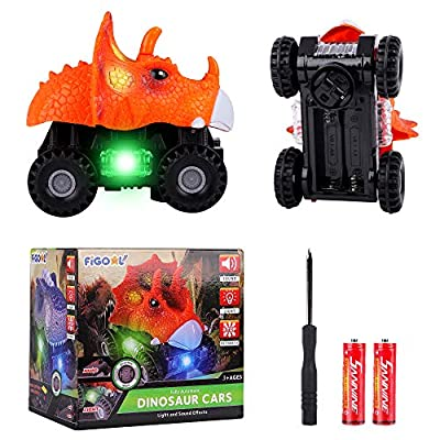 F FiGoal Dinosaur Cars with LED Light Sound Dino Car Toys Car Gifts Animal Vehicles for Boys Girls Toddles Kids Christmas Birthday Easter Gifts Teacher Classroom Prize… (1)