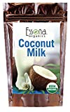 USDA Certified Organic Coconut Milk Powder 100% Pure Concentrated Powder, Raw, Vegan - From Essona Organics - Now 33% Larger Size - 240 grams in a convenient, resealable pouch.