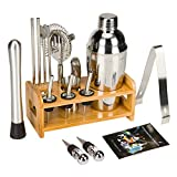 19 Piece Bartender Kit 25oz Cocktail Shaker Set with Stand Home Bar Tools Set - Bar Mixer Set with Strainer, Muddler, Jigger, Stand and More with Cocktail Recipes - Stainless Steel Cocktail Shaker