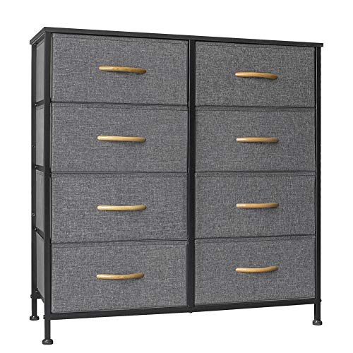 Crestlive Products Vertical Dresser Storage Tower - Sturdy Steel Frame, Wood Top, Easy Pull Fabric...
