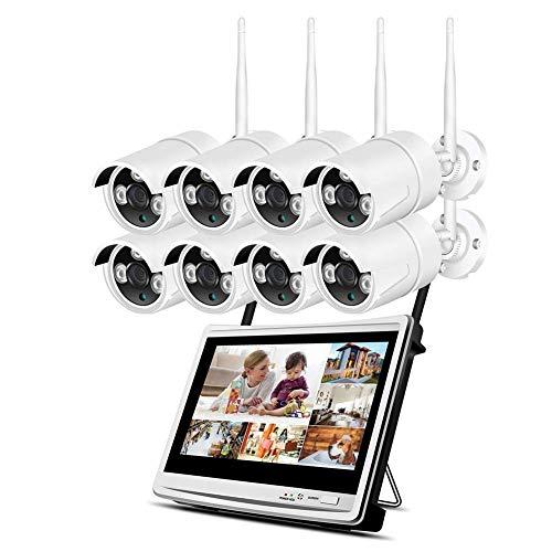 HYLH Uuml;berwachungskamera Set Auszlig;en Kabellos mit 8 x WiFi Sicherheitcameras 12