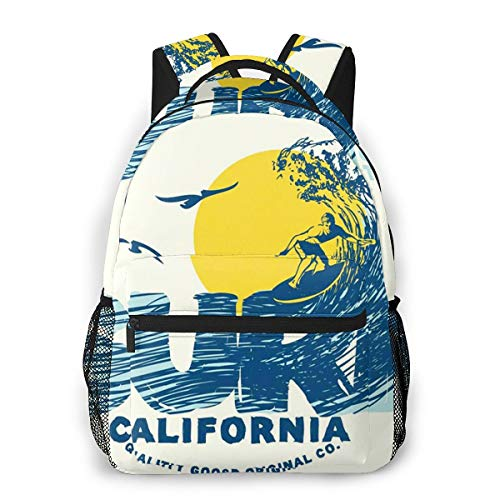 OMQFEW Mochilas Portatil 14 Pulgadas, Resistente Al Agua Casual Mochila, Multifuncional Mochila De Gran Capacidad para Hombre Mujer Escolar Trabajo Viajes California Surf Surfer Big