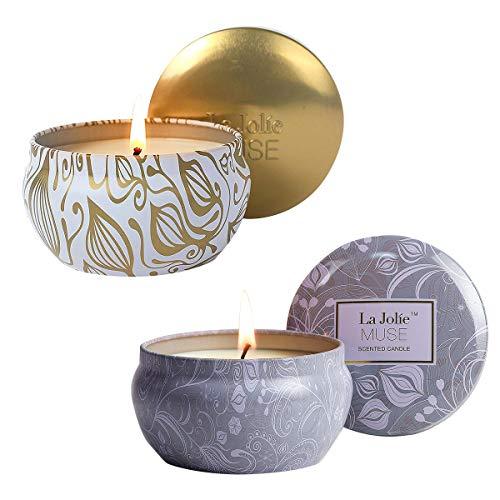La Jolíe Muse Juegos de velas - Velas aromaticas de aromaterapia, Coco Vainilla y Loto Azul, set de regalo, velas naturales, velas para aliviar el estrés, 35-45x2 Horas