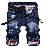 Lavnis Men's Fashion Casual Denim Shorts Moto Biker Distressed Shorts Jeans with Zipper Style 4 Blue 36