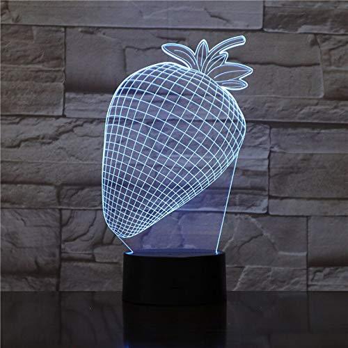 Decoración del hogar 7 colores cambiantes Fresa Modelado 3D LED Lámpara de mesa Botón táctil Fruta Usb Luces nocturnas