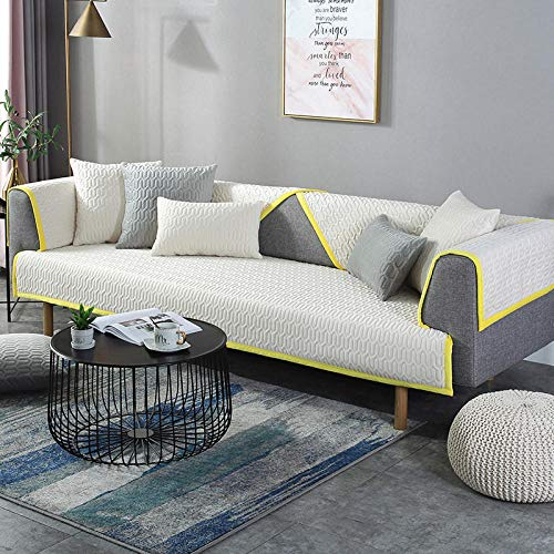 B/H Fabric Sectional Sofa Slipcovers,Thicken Sofa Cover in Winter, Flannel Cushion Towel-Creamy-White_110*240CM,Sofa Cover L Shape Sofa Slipcover