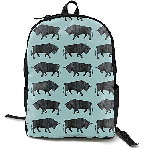 Mochilas,Black Angus Cattle Animal Blue Daypack Bolsas Decorativas para Niños para Adultos Escalada Viajar
