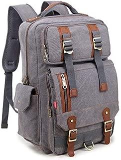 Crest Design Canvas Hiking Travel Daypacks School 16 inch Laptop Backpack Rucksack 30L
