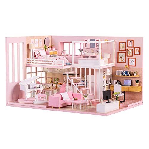 lemogo Mini-Puppenhaus-Kit – Puppenhaus Miniatur mit Möbeln, Holz DIY Puppenhaus Kit staubdichte Abdeckung & LED-Licht und Spieluhr, Maßstab 1:24 (K047)