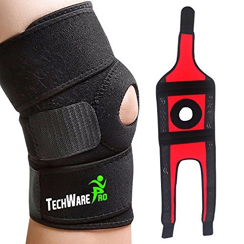 TechWare Pro Knee Brace Support - Relieves ACL, LCL, MCL, Meniscus Tear, Arthritis, Tendonitis Pain. Open Patella Dual Stabilizers Non Slip Comfort Neoprene. Adjustable Bi-Directional Straps - Medium