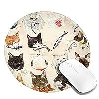 Mouse pad どらねこ 円型マウスパッド パソコン テーブルクロス 周辺機器 かわいい柄 滑り止め 防水 おしゃれ オフィス用 ゲーム用