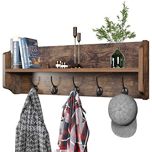 Wall Mounted Coat Rack with Shelf - 27 Inch Rustic Wooden 6 Hook Coat Hanger Rail, Espresso Wood, Black Metal Hooks