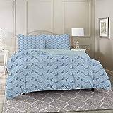 YUAZHOQI - Juego de funda de edredón de 3 piezas, diseño de mariposas, color azul, con libélulas, diseño floral, curvas de resorte, microfibra súper suave, incluye 2 fundas de almohada