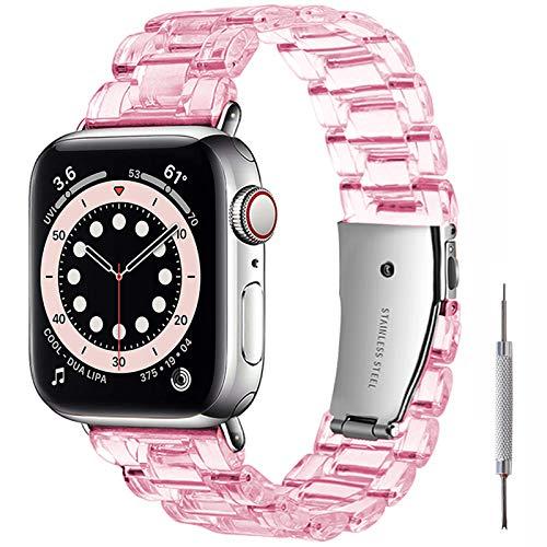Miimall Compatible con Apple Watch de 44 mm/42 mm, diseño transparente, PC, plástico, con hebilla de acero inoxidable, pulsera deportiva para Apple Watch Series 5/4/3/2/1, color rosa transparente