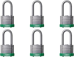 """ABUS 41/40 层压钢*锁绿色保险杠钥匙类似 - 长钩 (2"""") - 6 包"""