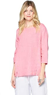 Focus Fashion 3/4 Sleeves Lightweight French Linen Tunic Top