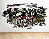 Autocollant, Stickers muraux auto-adhésifs pour arts créatifsrhino Vs Rugby Sticker Sportors, autocollants muraux en vinyle 3D Art, grand (92X52Cm)