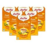 Yogi Tea 6x Feel Pure mit Zitrone Bio Yogi Tee I erfrischende Kräuter-Gewürz-Tee-Mischung m. Löwenzahn Süßholz I Bio-Qualität - 6x 17 Tee-Beutel
