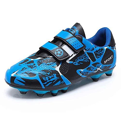 Chaussures Garçon 30 Chaussures de Football Enfant Baskets de Football en Salle Compétition Entraînemen Respirant Football Shoes Runing Shoes Chaussures en Plein pour Unisexe Enfant Bleu