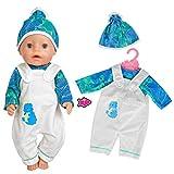 ebuddy Ensemble 3 pièces pour poupées de 43 cm avec combinaison, chemisier et chapeau - Bleu