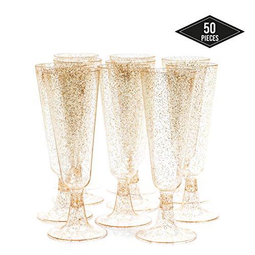 matana 50 Champagnerflöten, Einwegbecher, Sektkelche Plastik 150 ml - Glitter Gold Sektgläser Plastik - Ideal für Hochzeiten, Partys, Cocktails & Premium-Anlässe