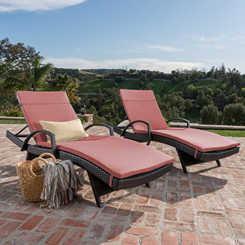 Olivia Patio Furniture ~ Outdoor Wicker Chaise Lounge Chair with Arms with Red Cushion (Set of 2)