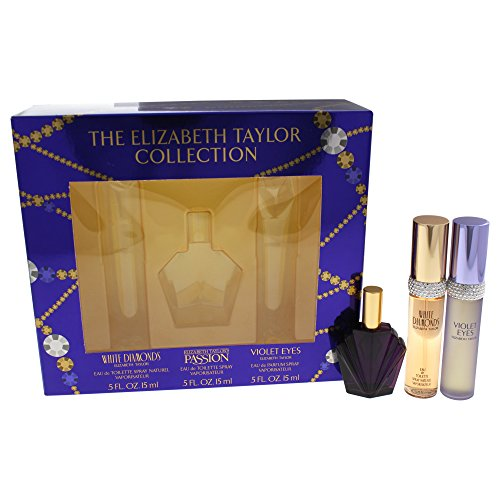 Elizabeth Taylor 3 PIECE FRAGRANCE GIFT SET in Box: White Diamonds, Passion, Violet Eyes