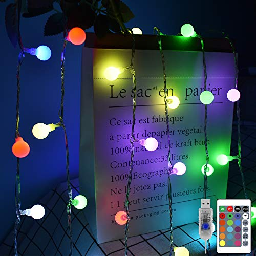 Heceltt Globe String Lights 33ft 100 LED Indoor Outdoor Fairy Lights 16 Colors Change USB Powered with Remote Control for Bedroom Party Garden Birthday Wedding Patio Decorations