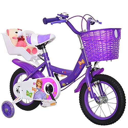 CKCL Bicicleta para Niños De 3 a 9 Años para Niños Y Niñas 12 14 16 18 Pulgadas Ruedas De Entrenamiento Flash Kickstand con Guardabarros De Juguete Freno De Mano Y Canasta,Púrpura,18inches