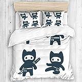 Marutuki Bedding Juego de Funda de Edredón,Cute Dibujos Animados Ninja Cat Set Dibujos adorables en Estilo japonés Moderno Simple,Microfibra SIN Relleno,(Cama 200x200 + Almohada)