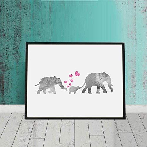 Watercolor Elephant Family Print Art Nursery Elephant Painting Kids Room Wall Print Watercolor Elephant Print Art Baby Love New Born Gift 8x10 inch No Frame
