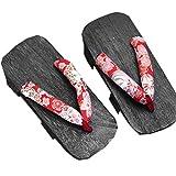 Kirschblüte Musterdruck Damen Sandalen Pantoffel,Sommerschuhe Holzschuhe Kimono Rutschfest Poliert Flip Flops Performance Holz-Hausschuhe Flops,2,38