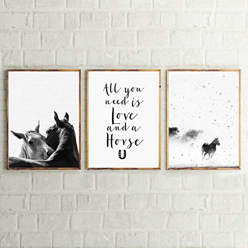 MhY Decoración de Arte de Caballo Impresiones en Lienzo y póster Blanco y Negro Animal Caballo nórdico Lienzo impresión hogar Moderno Arte de Pared decoración 30x40cmx3 sin Marco