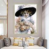 Impresión en lienzo Edouard Bisson 《Retrato de una dama con sombrero negro》...