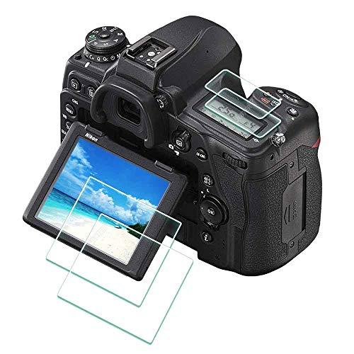 D780 D750 Displayschutzfolie für Nikon D750 D780 Kamera, 2 + 2 Stück, Ulbter 0,3 mm, Härtegrad 9H, gehärtetes Glas, kratzfest, Anti-Fingerabdruck, blasenfrei, Anti-Wasser, Staub.