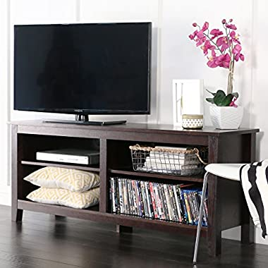 WE Furniture 58  Wood TV Stand Storage Console, Espresso
