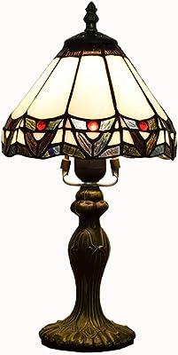 Tiffany Lampes de Table E27 Simple Pastorale Vitrail Abat Lampes de Bureau Creative Lampe de Chevet for Décor Lumière Bar Chambre Club 8 Pouces (W: 20 cm, H: 36cm)