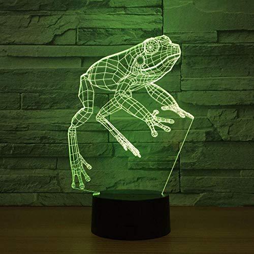 Ilusión 3D Luz LED Regalos de mesa de Navidad Regalos de Navidad Luz de noche de rana Lámpara LED 3D Juguete de dibujos animados Regalo 7 colores Cambiar mesa Lámpara de escritorio Luz de noch