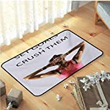 Anyangeight Fitness Indoor Mats, Athletic Model Woman Back View Set Goals and Crush Them Fit Female Body Form Floor Mat Rug Hand Washable, and Protects Floors for Home, W35 x L47 Beige Pink Black
