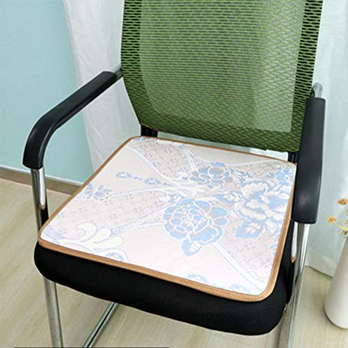 XiXiBoom Square Chair Seat Cushion Ice Silk Fabric Breathable Chair Pad Mat Thin Patterned Anti Slip Cushion For Drive Office Chair Dining Chair