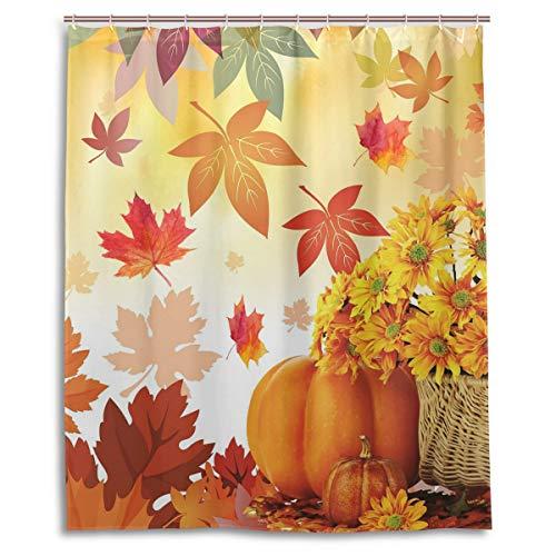 Wamika Duschvorhang mit Sonnenblumen-Ahornblättern, Kürbis-Herbstblumen, Polyester, wasserdicht, für den Erntedankfest, mit Haken, 152 x 182 cm (B x H)
