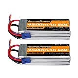 Youme 6S Lipo Battery,22.2V 4500mAh Lipo Battery 60C with EC5 Plug for X Class Drone Racing 70MM 80MM 90MM EDF RC Quadcopter Airplane Helicopter Car Truck Boat Hobby (2 Packs)