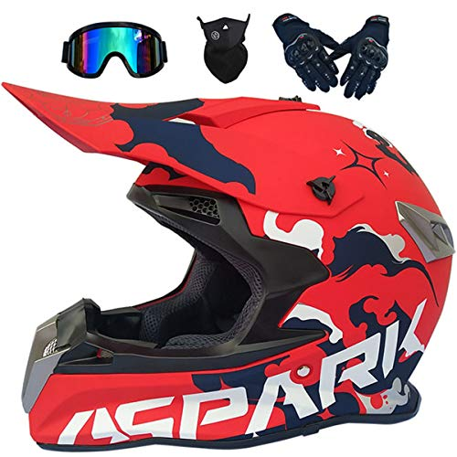 LCRAKON Casco Moto Niño 5-16 Años MJH-02 Rojo Spark Cascos Motocross Integral...