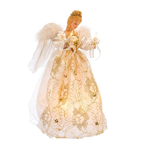 10 Bulb Light Up 12 inch Ivory and Gold Angel Christmas Tree Topper